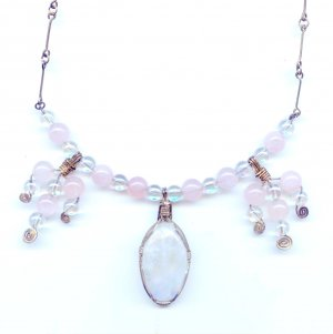 Moonstone, Rose Quartz, and Sterling Silver Wire Wrap Necklace