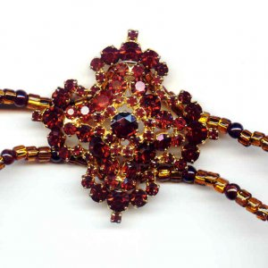 Reconstructed Vintage Garnet and Glass Necklace