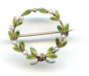 14K Yellow Gold, Pearl, and Enamel Brooch