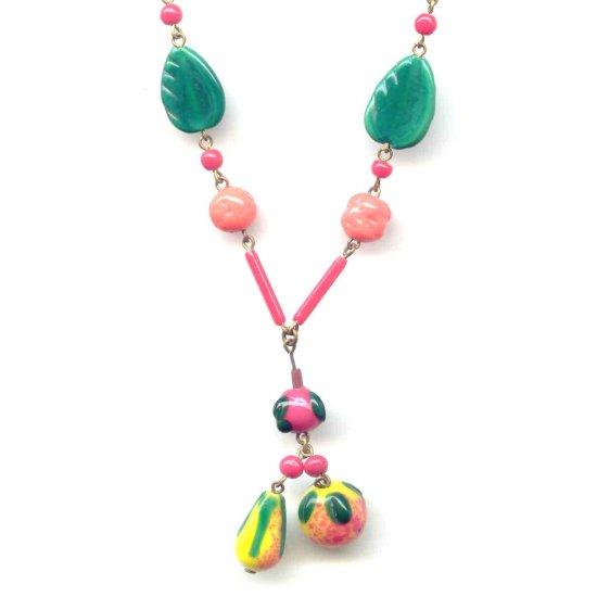 Vibrant Czech Glass Fruit Necklace