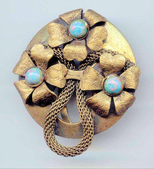 Art Nouveau Wire Mesh Braid Faux Turquoise Dress Clip
