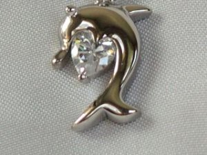 cute dolphin silver necklace