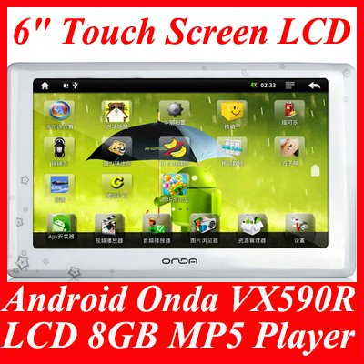 """Google Android Smart Onda VX590R 6"""" Touch Screen LCD 1080P 8GB MP3 MP4 MP5 Player"""