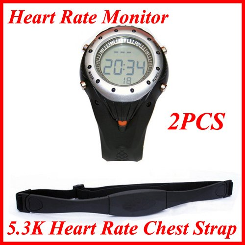 Wireless Heart Rate Monitor Heart Rate Alarm Fuction Sport Watch +  5.3K Heart Rate Chest Strap