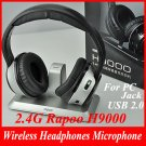 High Definition 2.4G Rapoo H9000 Wireless Headphones Microphone For PC USB 2.0 Jack