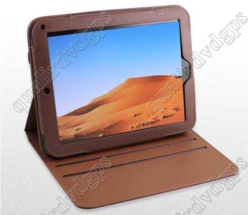 360 degree Rotary brown Genuine Leather Case For HP Touchpad Tablet