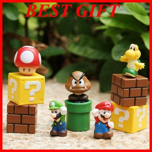Lot 5pcs Super Mario Bros LUIGI MARIO Figure Toy with Collectors Iron Box
