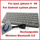 FB-WXJP01-WH Ultra-Slim Wireless Bluetooth V2.0 Rechargeable Keyboard For ipad iphone 4 4s