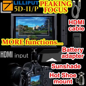 "CE21LED503-WO Lilliput 5D-II/O/P PEAKING Zebra Exposure Filter HDMI IN OUT 7"" TFT LCD Monitor"