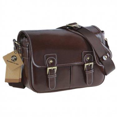 AS-WFPU80-CF Koolertron Waterproof Vintage PU Leather Messenger &Shoulder Bag+Camera Insert