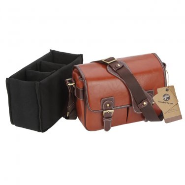 AS-WFPU80-BN Koolertron Waterproof Vintage PU Leather Messenger &Shoulder Bag+Camera Insert
