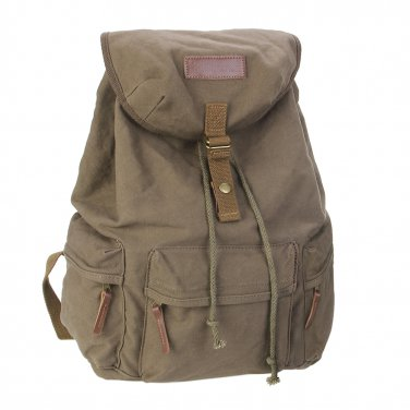 AS-KSFB39-GN Vintage Canvas DSLR Camera Bag Laptop Backpack Rucksack for Canon Nikon Sony