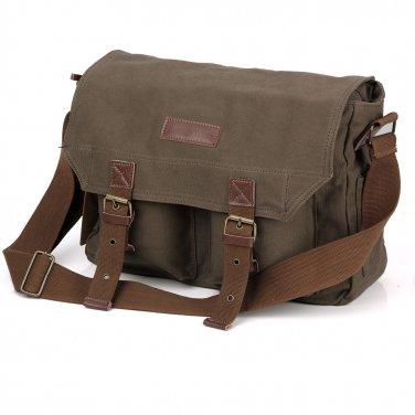 AS-KSFB35-GN Koolertron Canvas DSLR Camera Bag Shoulder Messenger Bag for Canon Nikon Pentax