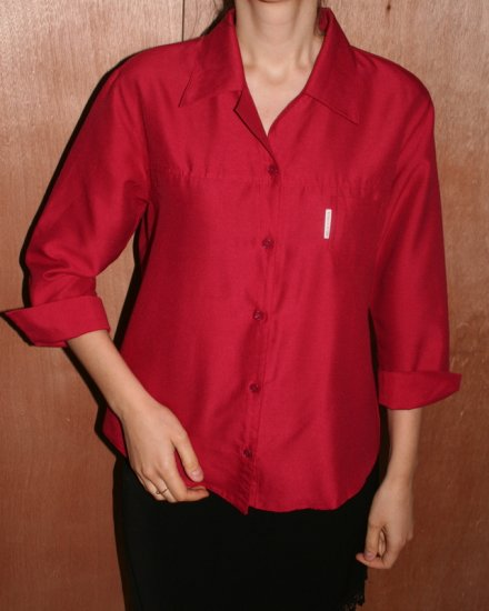 Red Ruby Top Blouse Shirt Lady Woman 3/4 sleeve S/M