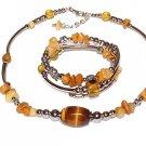 Tigered Eye Bracelet and Necklace Set