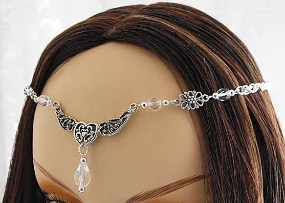 HEART Crystal Medieval CIRCLET Headpiece Crown tiara