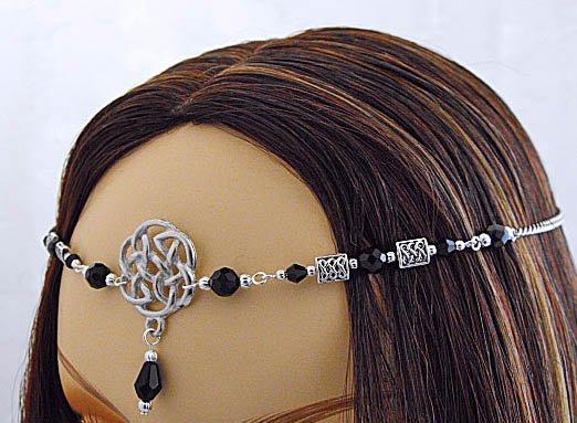 LARP BLACK Renaissance Celtic knot CIRCLET crown tiara