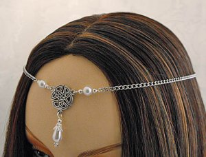 PEARL CELTIC TRIQUETRA medieval wedding tiara CIRCLET