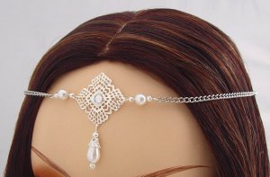 ITEM 3291 Pearl Renaissance Elven SCA LARP Medieval CIRCLET crown