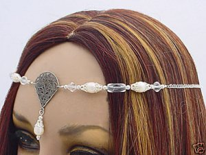 Pearl Wedding CIRCLET tiara veil crown Renaissance SCA #3067