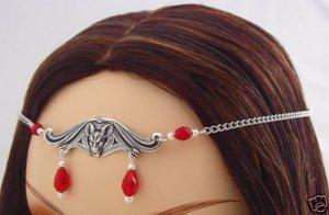 Red GOTHIC Medieval VAMPIRE BAT Crown CIRCLET Headpiece