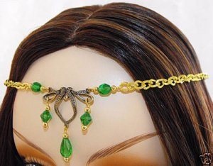 CELTIC GREEN medieval ELViN CIRCLET crown tiara diadem