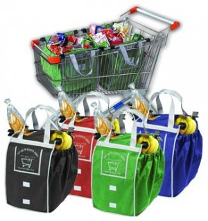 Shopping Cart Tote Bags- Set of 3- IN GREEN ONLY