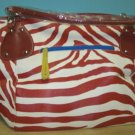 RED STRIPED ZEBRA PRINT TOTE BAG