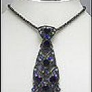 PURPLE SWAROVSKI NECKTIE PENDANT NECKLACE