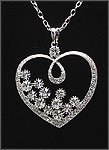 CLEAR RHINESTONE HEART PENDANT NECKLACE