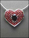 RED RHINESTONE HEART PENDANT NECKLACE