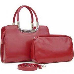 REDDISH-BROWN SATCHEL BAG WITH COSMETIC BAG