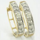 HALF CARAT WHITE  DIAMOND  HOOP  EARRINGS