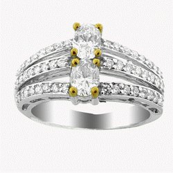TWO  STONE   DIAMOND  WEDDING  RING