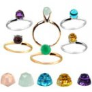 TWELVE  BIRTHSTONE GEM  RING  LOT