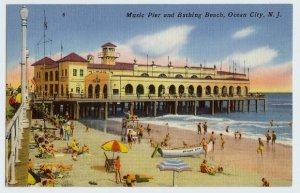 VINTAGE POST CARD MUSIC PIER & BATHING BEACH, OCEAN CITY NJ