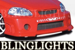 1996-2000 HONDA CIVIC WINGS WEST BODY KIT BUMPER FOG DRIVING LIGHTS LAMPS LAMP 1997 1998 1999
