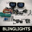 BLACK HELLA BLUE LENS RECTANGULAR AUXILIARY DE DRIVING LIGHTING LIGHTS LAMPS LIGHT LAMP KIT