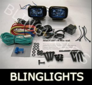 BLACK HELLA BLUE LENS RECTANGULAR AUXILIARY DE DRIVING LIGHTING LIGHTS LAMPS LIGHT LAMP KIT