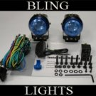 BLACK HELLA BLUE LENS PROJECTOR AUXILIARY DE DRIVING LIGHTING LIGHTS LAMPS LIGHT LAMP KIT