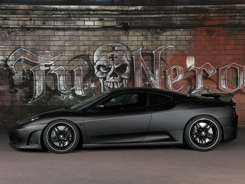 "Ferrari F430 Tu Nero Car Poster Print on 10 mil Archival Satin Paper 16"" x 12"""