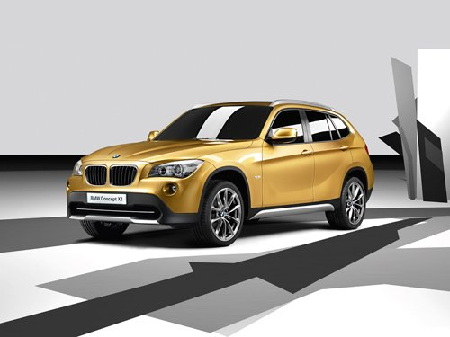 "BMW X1 Concept Car Poster Print on 10 mil Archival Satin Paper 16"" x 12"""