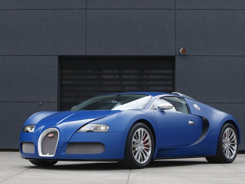 "Bugatti Veyron Bleu Centenaire Car Poster Print on 10 mil Archival Satin Paper 16"" x 12"""