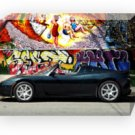 "Tesla Roadster Black Car Archival Canvas Print (Mounted) 16"" x 12"""