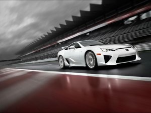 "Lexus LFA On Race Track Car Poster Print on 10 mil Archival Satin Paper 16"" x 12"""