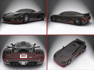 """Koenigsegg CCXR Special Edition Montage Car Poster Print on 10 mil Archival Satin Paper 16"""" x 12"""""""