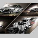 "Audi R8 Montage Archival Canvas Car Print (Mounted) 16"" x 12"""