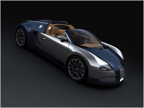 "Bugatti Veyron Grand Sport Sang Bleu Car Poster Print on 10 mil Archival Satin Paper 16"" x 12"""