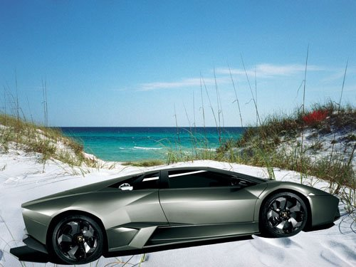 "Lamborghini Reventon Beach Car Poster Print on 10 mil Archival Satin Paper 16"" x 12"""