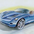 "Mercedes-Benz Vision SLA Concept Car Drawing Poster Print 16"" x 12"""